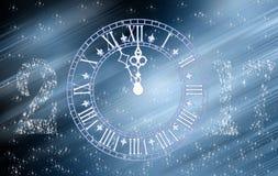 蓝色减速火箭的时钟2017年新年快乐 免版税库存照片