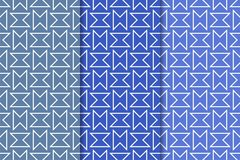 蓝色几何套无缝的样式 免版税图库摄影