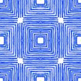 蓝色几何水彩 无缝逗人喜爱的模式 库存例证