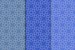 蓝色几何装饰品 仿造无缝的集 免版税库存照片