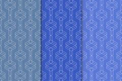 蓝色几何装饰品 仿造无缝的集 免版税库存图片