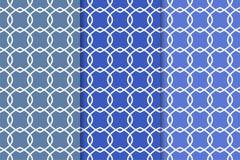 蓝色几何装饰品 仿造无缝的集 库存图片