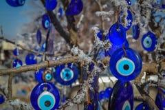 蓝色凶眼(土耳其眼睛), Capaddocia,土耳其 免版税库存照片