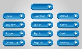 蓝色凹面按钮板料  免版税库存图片