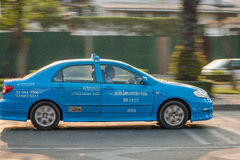 蓝色出租汽车在曼谷 库存照片