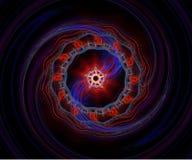 蓝色分数维红色螺旋 免版税库存图片