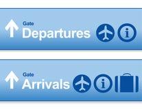 蓝色到来和离开机场标志 免版税库存照片