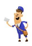 蓝色制服的友好的邮差 免版税图库摄影
