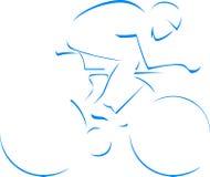 蓝色剪影骑自行车者 库存图片