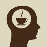 蓝色剪影头杯子coffe象设计 库存照片