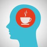 蓝色剪影头杯子coffe象设计 免版税图库摄影