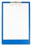 蓝色剪贴板纸张 免版税库存图片