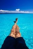 蓝色加勒比松弛水 免版税库存照片