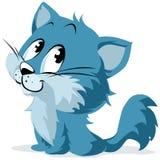 蓝色动画片小猫或猫 免版税库存图片