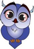 蓝色动画片猫头鹰之子 库存照片