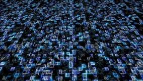 蓝色十六进制大数据数字式代码 未来派信息技术概念 3d例证 向量例证