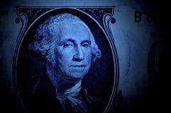 蓝色华盛顿美元 库存照片