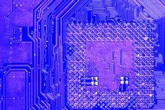 蓝色单板计算机主板个人计算机pcb 库存图片