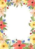 蓝色卡片设计花卉问候 您的文本的框架与在waterc的花 免版税库存照片