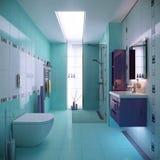 蓝色卫生间场面 库存图片