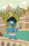 蓝色印地安男孩 免版税库存照片