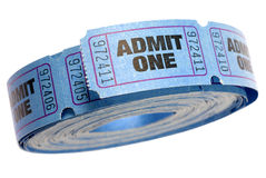 蓝色卷承认一在白色背景隔绝的票,关闭  免版税库存照片