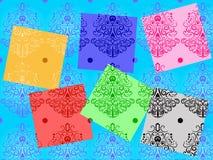 蓝色卷毛模式正方形 库存照片