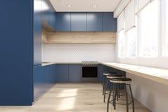 蓝色厨房正面图  皇族释放例证