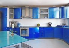 蓝色厨房 免版税库存照片
