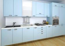 蓝色厨房 免版税库存图片