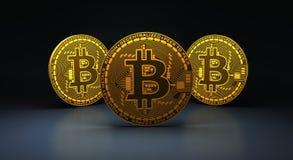蓝色反射性表面, 3d上的三金bitcoins翻译 免版税库存图片