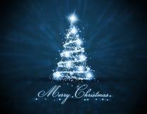 蓝色发光的圣诞树 库存图片