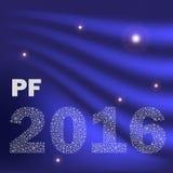 蓝色发光的抽象新年好从小的雪花eps10的pf 2016年 免版税图库摄影