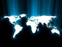蓝色发光的映射 免版税库存照片