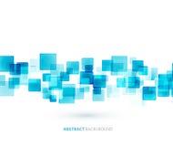 蓝色发光的正方形技术经验 向量 免版税库存照片