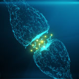 蓝色发光的突触 在人工智能的概念的人为神经元 脉冲突触神经的送电线  图库摄影