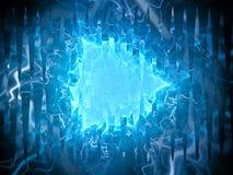 蓝色发光的等离子三角外籍人技术 库存照片