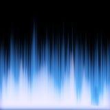 蓝色发光的音频信号波形 免版税库存照片