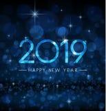 蓝色发光的bokeh 2019年新年快乐贺卡 皇族释放例证
