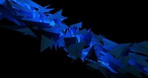 蓝色变体的低多三角Pulsationg背景形状4k动画录象剪辑 向量例证