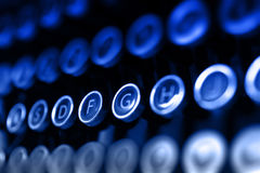 蓝色古色古香的打字机钥匙 免版税库存图片