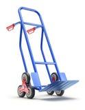 蓝色台阶上升的手推车 库存例证