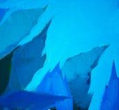 蓝色叶子和天空,绘由在帆布的油,例证 免版税库存照片