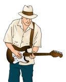 蓝色吉他音乐家 库存照片