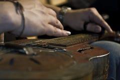 蓝色吉他 免版税图库摄影
