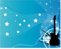 蓝色吉他 免版税库存照片