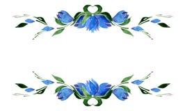 蓝色吊钟花和绿色叶子小插图  水彩 孤立 库存图片