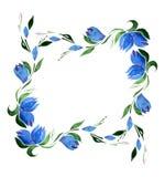 蓝色吊钟花和绿色叶子方形的框架  水彩 孤立 库存照片
