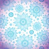 蓝色向日葵模式 免版税库存照片