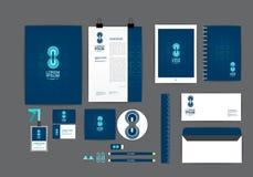 蓝色和圈子您的事务的公司本体模板 免版税库存照片